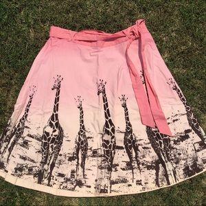 Anthropologie pink ombré giraffe skirt